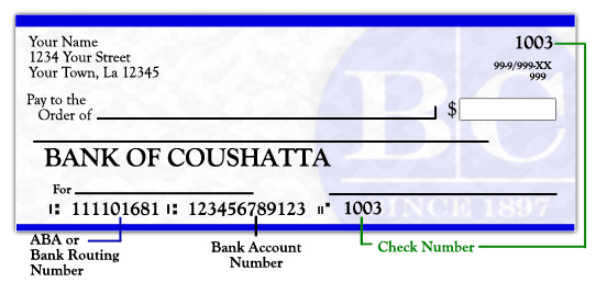 check routing number image